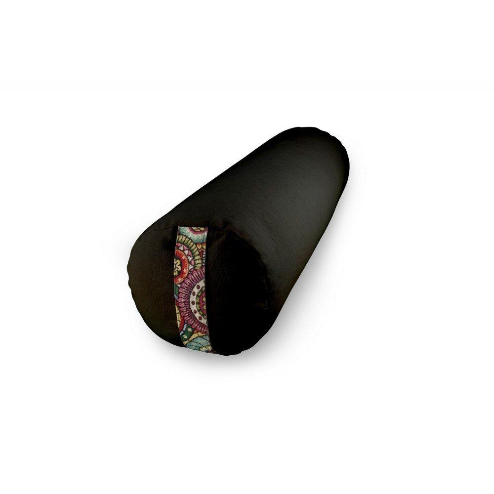 Bolster Yuwa mandala noir bicolore naturel et artisanal fait en France méditation éthique