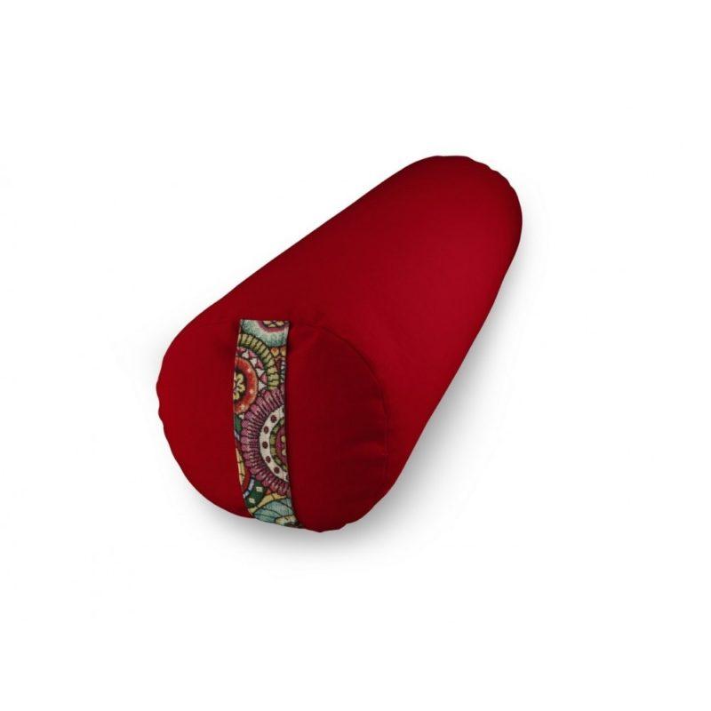 Bolster Yuwa mandala rouge bicolore naturel et artisanal fait en France méditation éthique