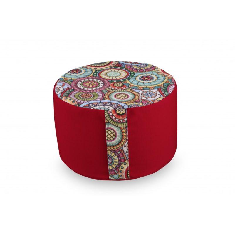 Rondo mandala bicolore rouge Yuwa artisanal et éco-responsable méditation