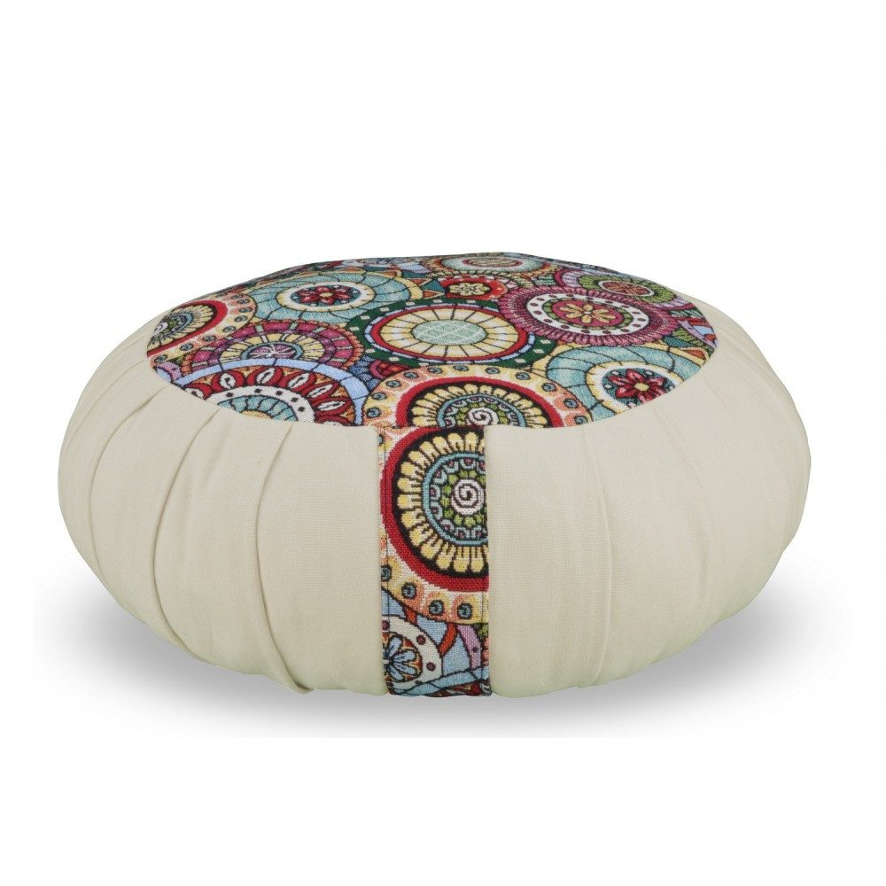 Zafu Mandala bicolore - lin - fabrication française et artisanale