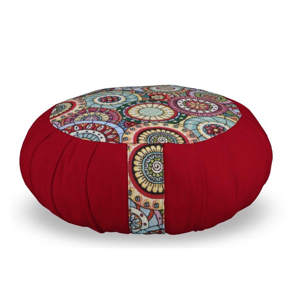 Zafu Yuwa mandala bicolore rouge artisanal fait en France